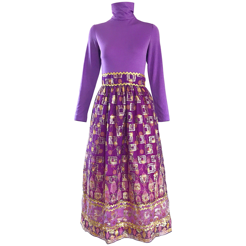 Beautiful 1970s Purple Lavender Ethnic Batik Print High Neck Vintage Midi Dress