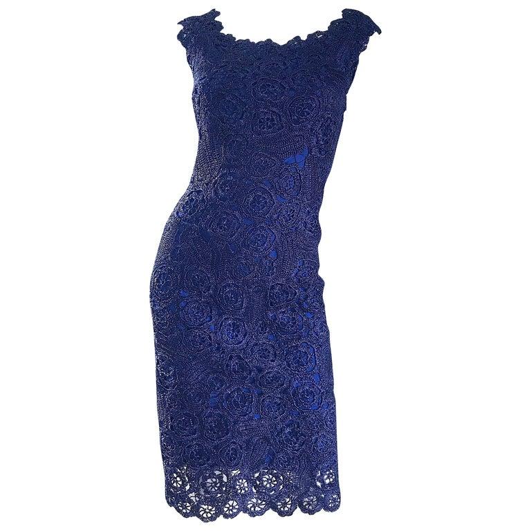 Gorgeous 1950s Demi Couture Navy Blue Raffia Cut - Out Vintage 50s Dress For Sale