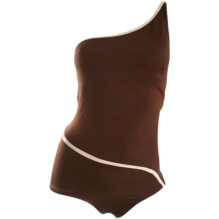 1970s Bill Blass Brown White One Shoulder Vintage One Piece Swimsuit Bodysuit