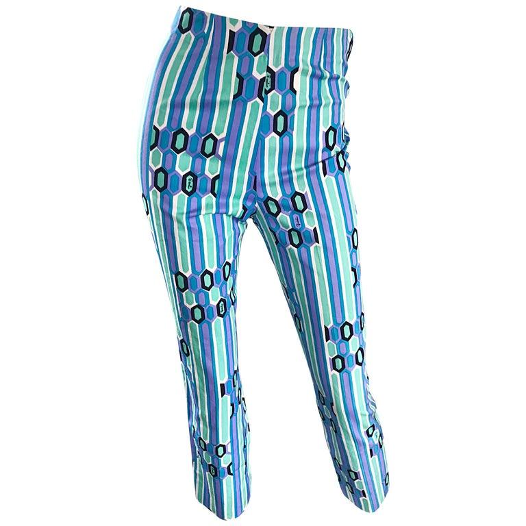 Emilio Pucci Blue Kaleidoscope Print High Waist Vintage Capri Pants, 1960s