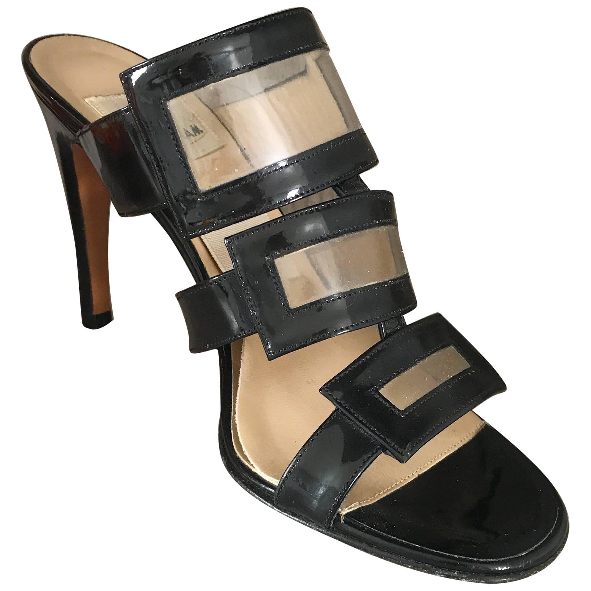 1990s Todd Oldham Black Patent Leather Size 37 / 7 Springolator 90s High Heels