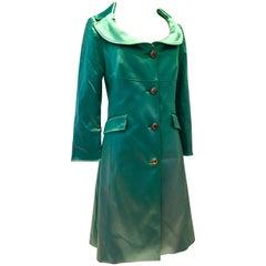 2013 Dolce & Gabbana Emerald Green Satin Evening Coat