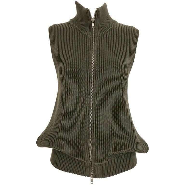 MARGIELA Olive Green Vest Cardigan Knit Top