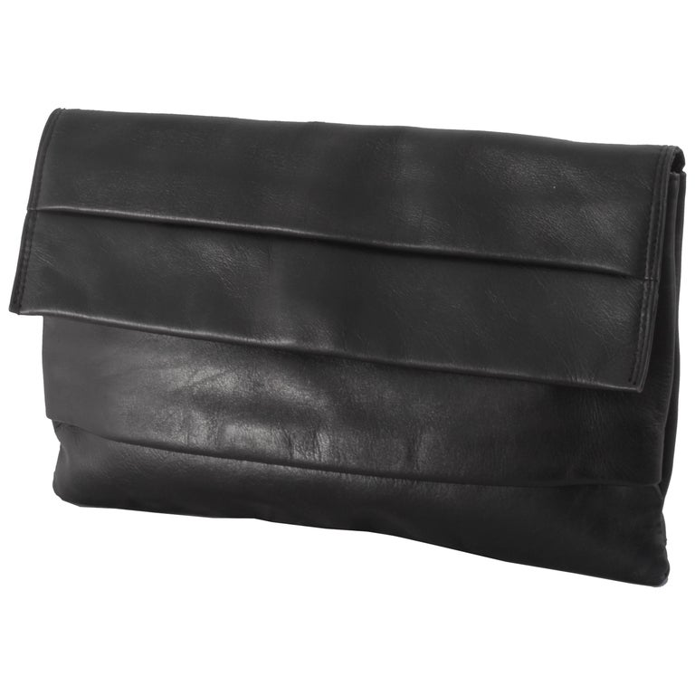 Black Leather Clutch Bag Purse from Dayton's Department Store, Italy 1960s