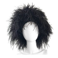 Autographed Norma Kamali Vintage New Black Ostrich Feather Rare 1980s OMO Hat