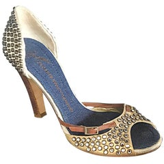 Giuseppe Zanotti Size 39 / 9 Gold Bronze and Brown Rhinestone Studded High Heels
