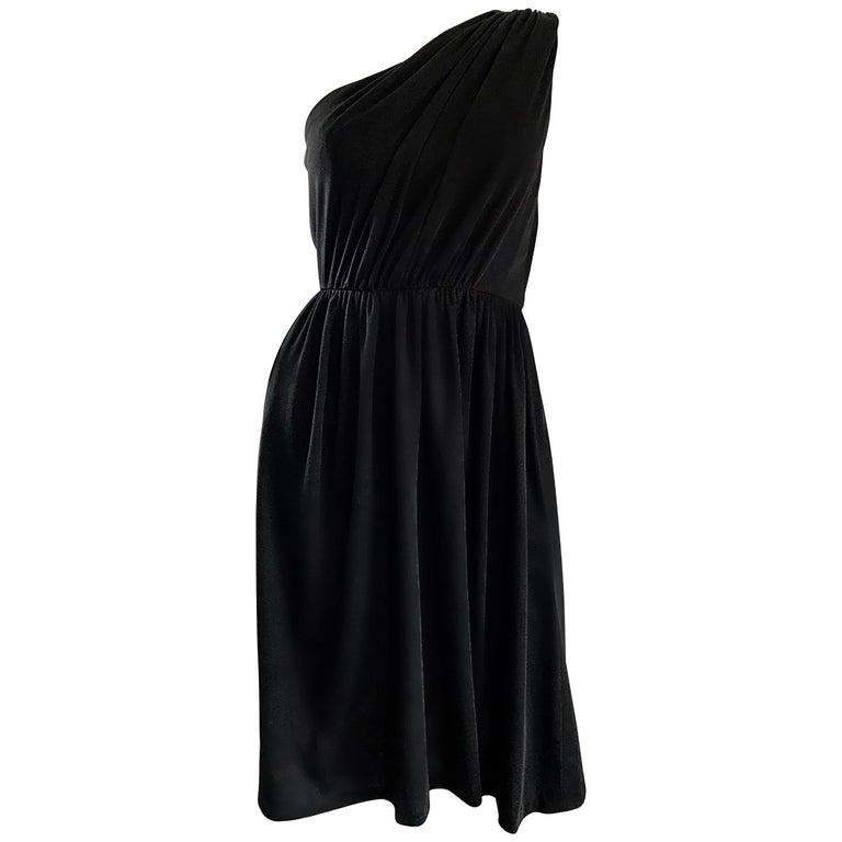 1970s Anthony Muto for Joseph Magnin Black Jersey One Shoulder 70s Grecian Dress For Sale