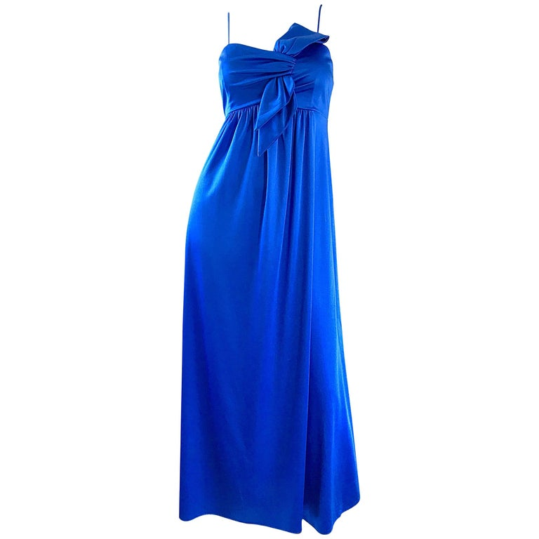 Stunning 1970s Royal Blue Slinky Jersey Sleeveless Vintage 70s Gown Maxi Dress