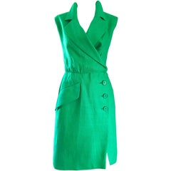Vintage Yves Saint Laurent Kelly Green 1990s Linen Sleeveless Linen Shirt Dress