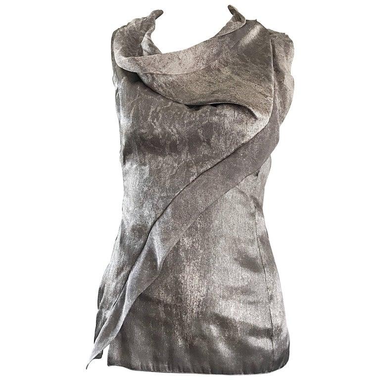 Giorgio Armani 1990s Silver Gunmetal Avant Garde Vintage 90s Silk Blouse Top