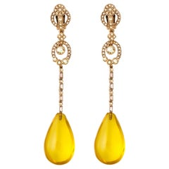 Oscar de la Renta Yellow Gold Drop Earrings