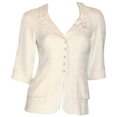 Classy Chanel Ivory Tweed CC Logo Button Jacket