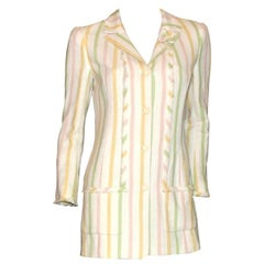 Chanel Fringed Striped Pastels Tweed Clover Brooch Jacket with CC Logo Buttons