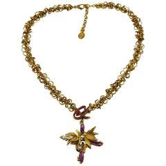 Christian Lacroix Vintage Jewelled Pendant Necklace