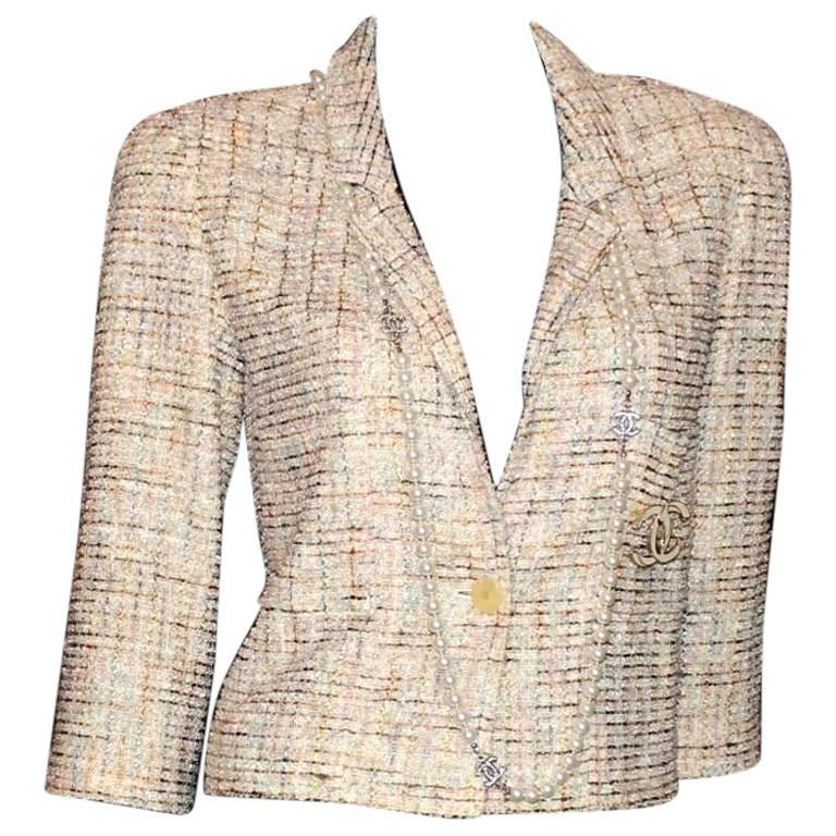 Stunning Chanel Boucle Cropped Jacket with CC Logo Button