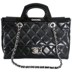 Chanel 15B Small Glazed Black CC delivery tote