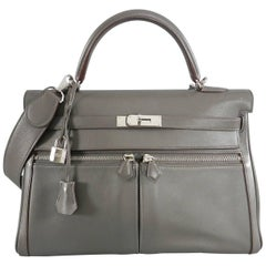 Hermes Kelly Lakis 35 Etain Swift with Palladium Hardware