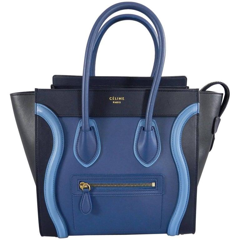 25ee1d8715 Celine Micro Luggage Phantom Bag - Tri tone Blue at 1stdibs