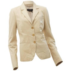 Salvatore Ferragamo Ladies Leather Jacket Cream Vanilla Blazer Size 44 Italy