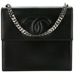 Chanel Black Leather Silver Chain Top Handle Satchel Evening Bag