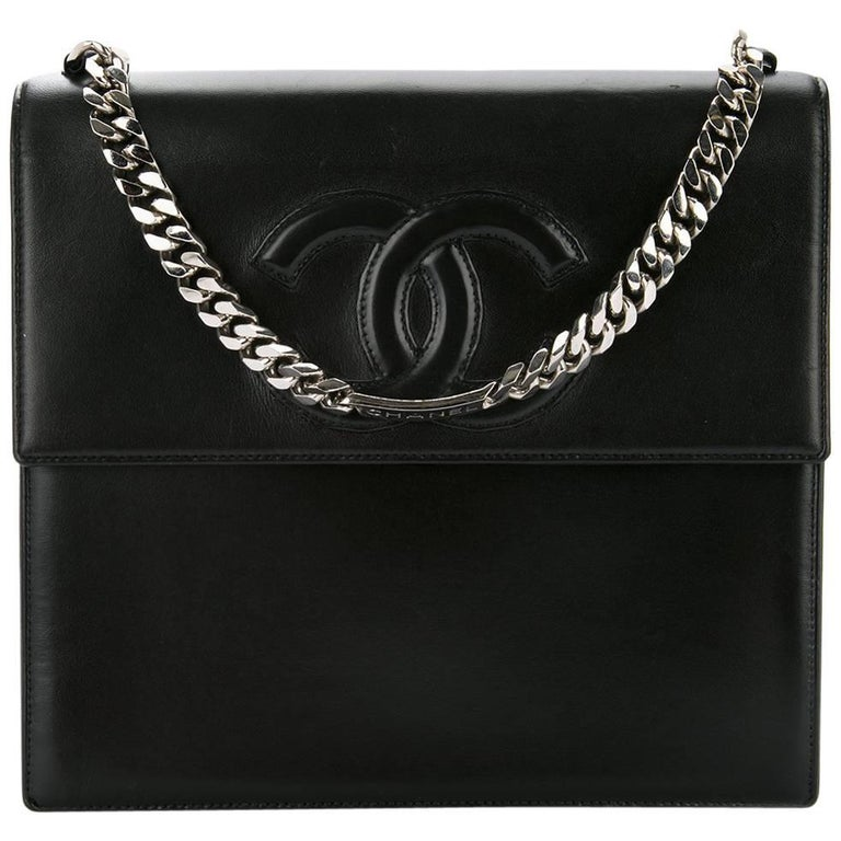 Chanel Black Leather Silver Chain Top Handle Satchel Evening Kelly Style Bag