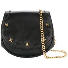 Salvatore Ferragamo Black Leather Gold 2 in 1 Crossbody Fanny Pack Belt Bag
