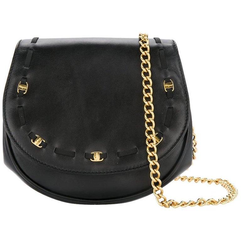 Salvatore Ferragamo Black Leather Gold 2in1 Fanny Pack Belt Bag