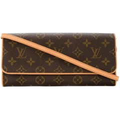 Louis Vuitton Monogam 2 in 1 Crossbody Shoulder Clutch Evening Flap Bag