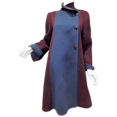 Beautiful structured Pauline Trigere two tone wool coat
