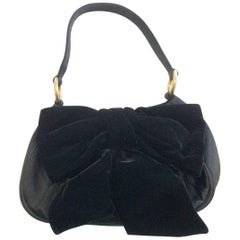 Vintage Yves St Lauren YSL black velvet evening bag handbag