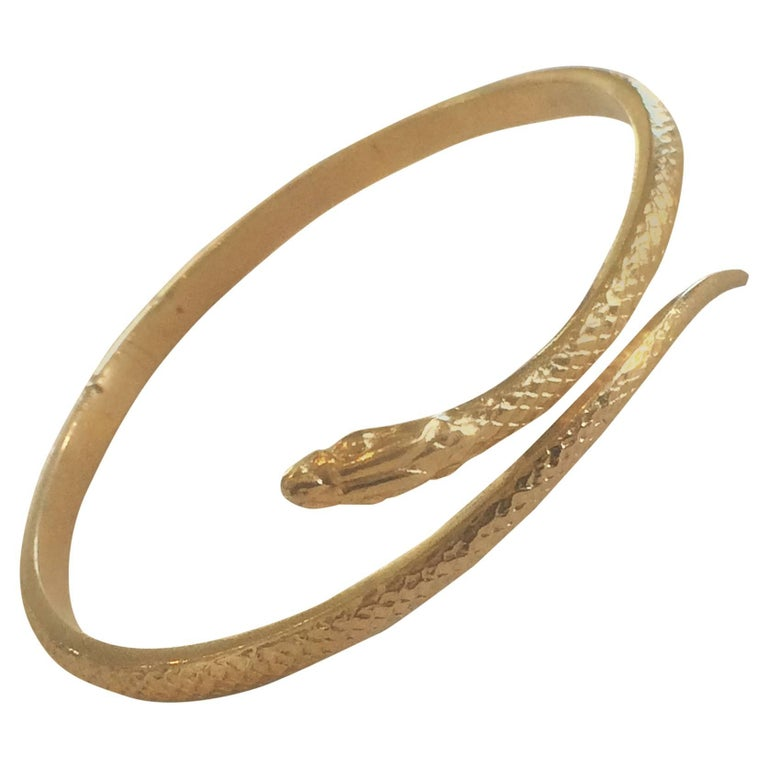Art Deco 9ct Gold Snake Serpent Bangle Bracelet 1