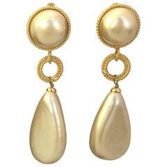 Chanel Faux Pear Clip On Dangle Earrings