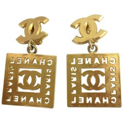 Chanel Double Monogram Gold Tone Clip On Earrings