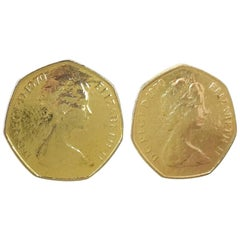 Queen Elizabeth II 1970's Gold Tone Clip On Earrings