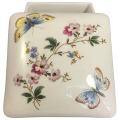 Limoges Hand Painted Butterfly Porcelain Trinket Box with Lid