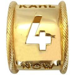 "Karl Lagerfeld ""Karl 4 Now"" Gold Tone Cuff Bracelet"