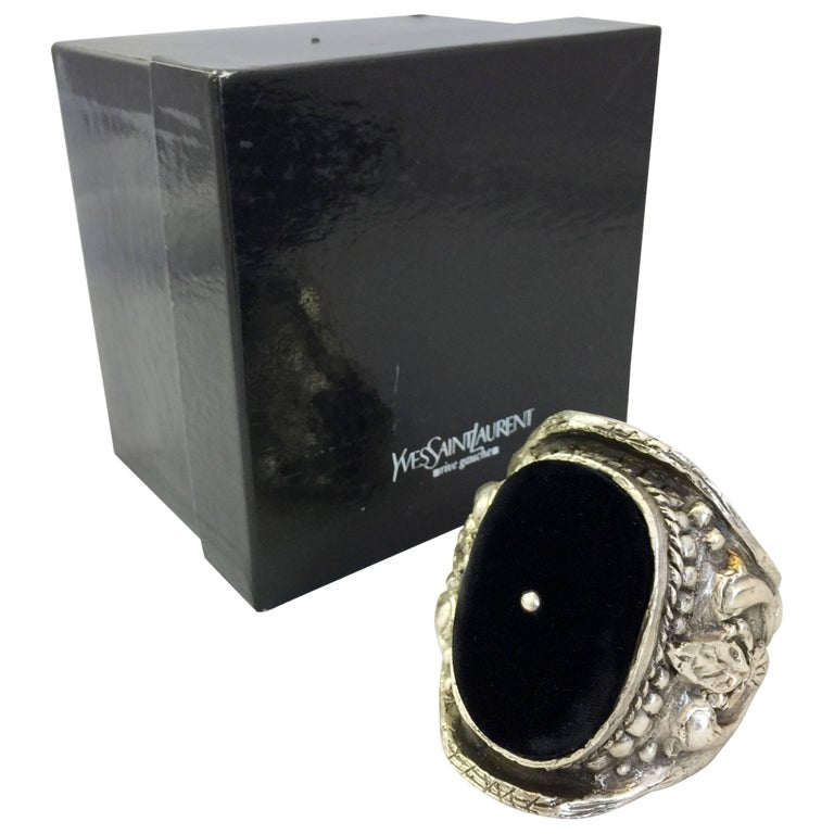 Yves Saint Laurent Silver Tone Baroque Cuff Bracelet Tom