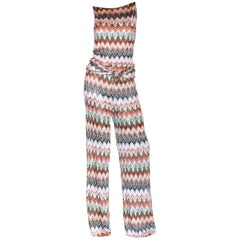 Missoni Signature Zigzag Crochet Knit Open Back Jumpsuit with Belt