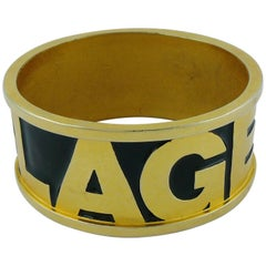 Karl Lagerfeld Vintage Iconic Gold Tone and Black Enamel Cuff Bracelet