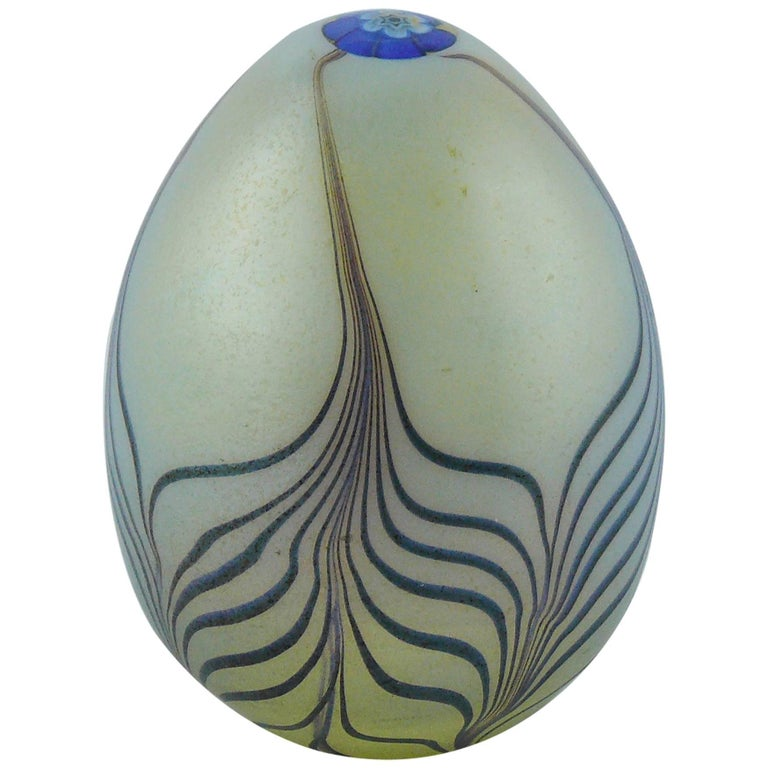 Christian Dior Vintage Murano Art Glass Egg Paperweight