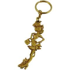 Christian Lacroix Vintage Gold Toned Figural Key Ring Bag Charm