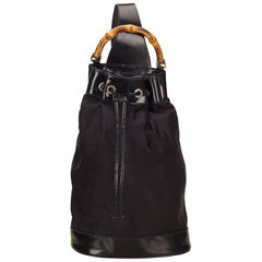 Gucci Black Bamboo Drawstring Backpack