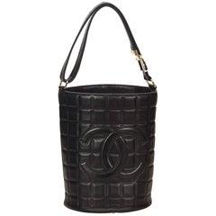 Chanel Black Leather Choco Bar Bucket Shoulder Bag