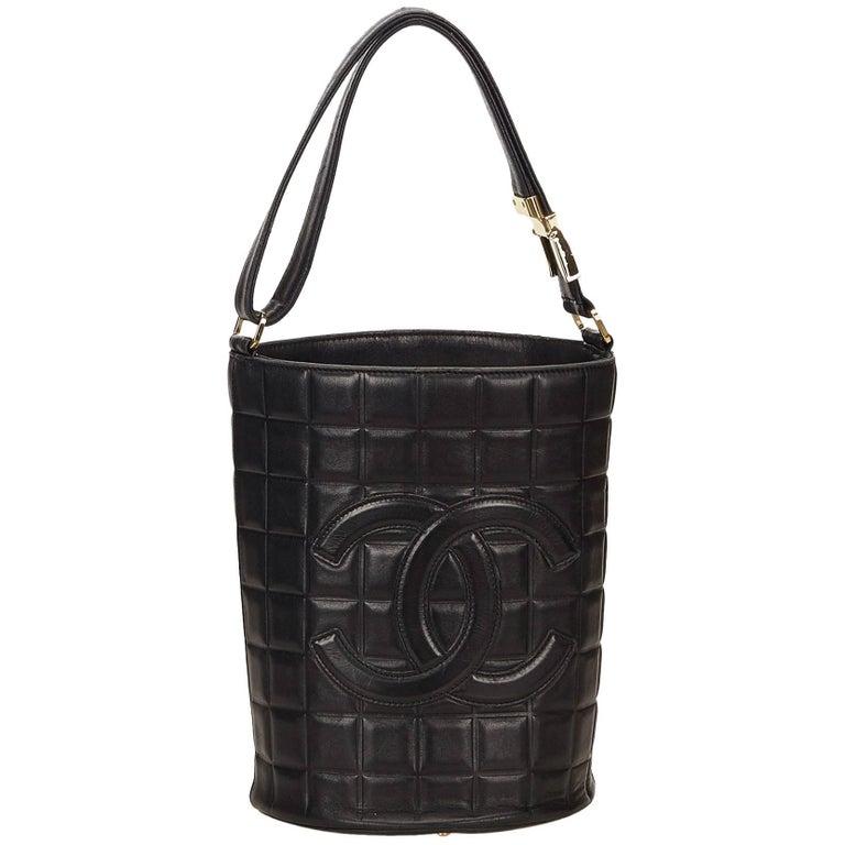 Chanel Black Leather Choco Bar Bucket Shoulder Bag For Sale