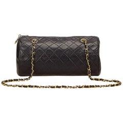 Chanel Black Quilted Lambskin Leather Cylinder Shoulder Bag