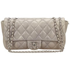 Chanel Gray Matelasse Quilted Lambskin Leather Flap Shoulder Bag