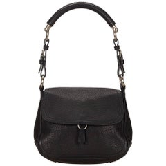Prada Black Leather Flap Shoulder Bag