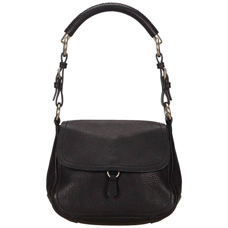 Prada Black Leather Flap Shoulder Bag