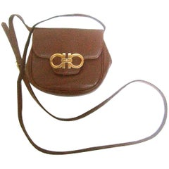 Salvatore Ferragamo Italy Diminutive Tiny Brown Leather Shoulder Bag