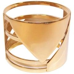 C.1990 Art Deco Style Furla Italian Gold Tone Bangle Bracelet